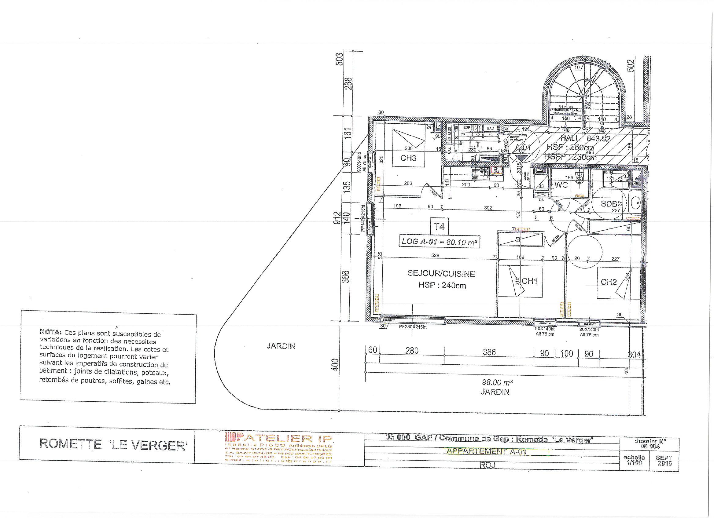 APPARTEMENT T4 NEUF 80 M² + JARDIN 98 M² + CAVE + PARKING